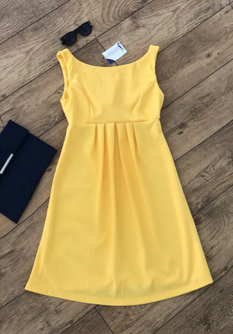 Yellow Swing High Neck Fashionably Pregnant Smart green dress sleeveless