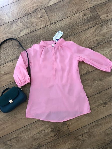 Pink cotton work smart casual pregnancy fashionably pregnant top blouse shirt