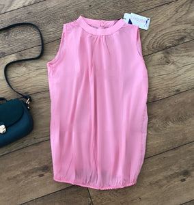 Pink maternity sleeveless blouse fashionably pregnant
