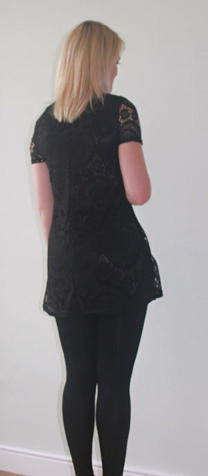 Fashionably Pregnant Black Tunic Top Blouse short sleeve lace