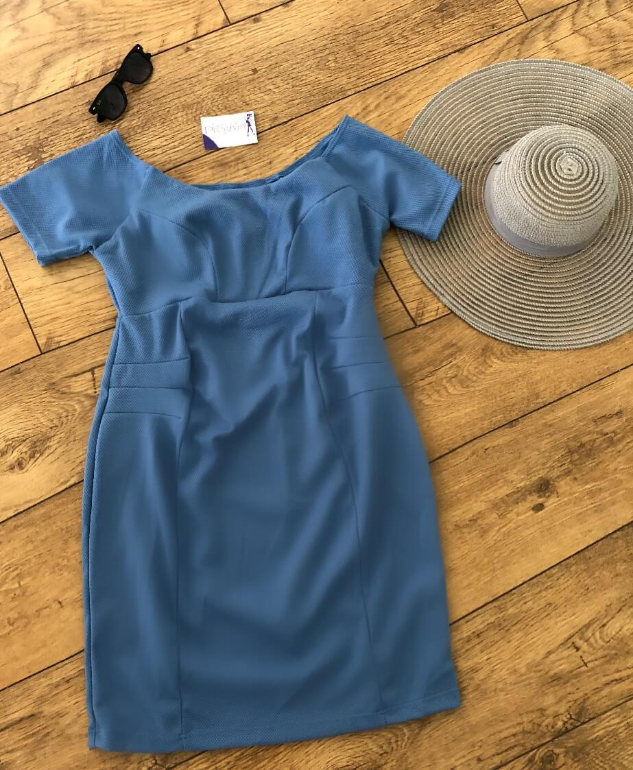 Lucina Maternity Off The Shoulder Short Sleeve Dress - Blue