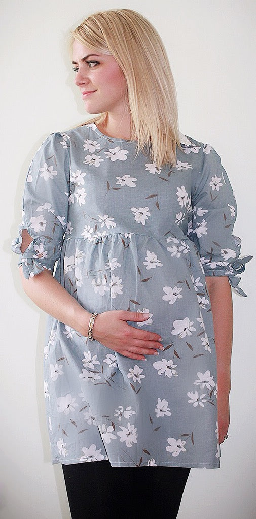 Fashionably Pregnant Flower Maternity Cotton Casual top