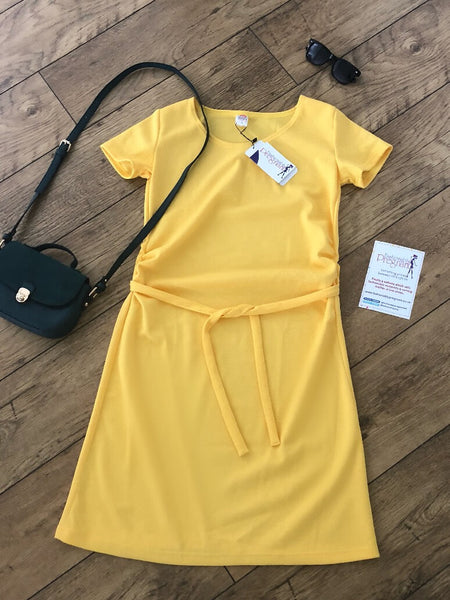 Yellow Fashionably Pregnant blue maternity belt dress