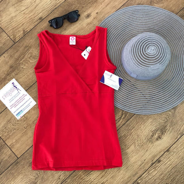 Sleeveless tank top vest Fashionably Pregnant Short Sleeve Maternity & Breastfeeding Jersey Top - Red Tshirt, basic summer
