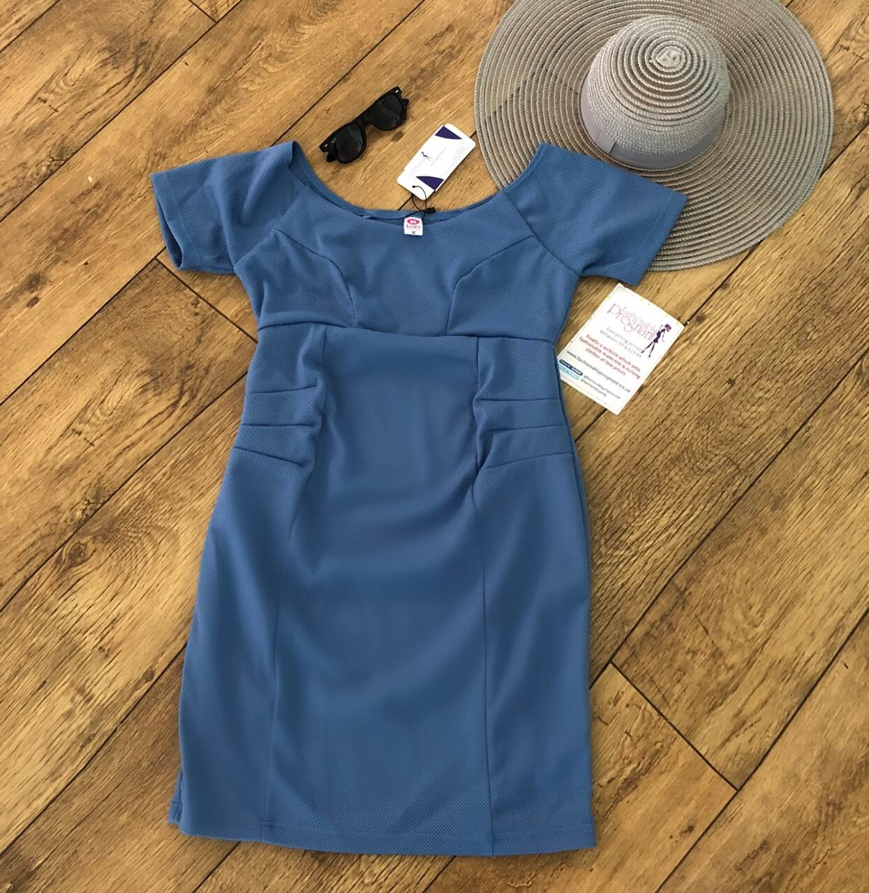 Fashionably Pregnant Lucina Off the shoulder blue maternity dress