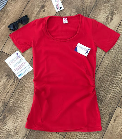 Fashionably Pregnant Short Sleeve Maternity & Breastfeeding Jersey Top - Red Tshirt, basic summer