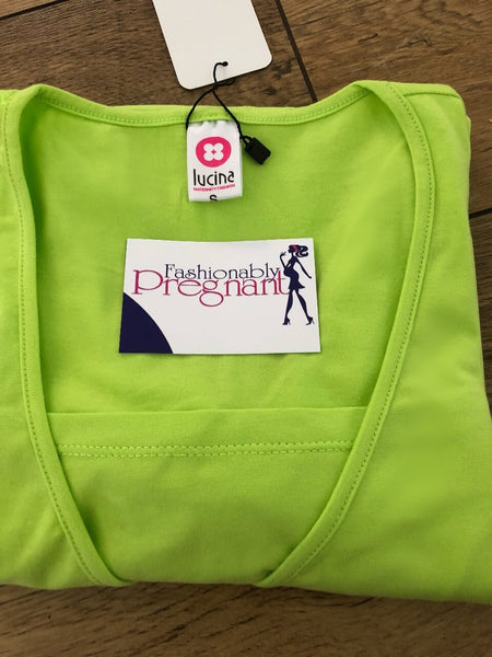 Pistachio Neon Green Fashionably Pregnant red long sleeve top back cotton breastfeeding nursing basic jersey