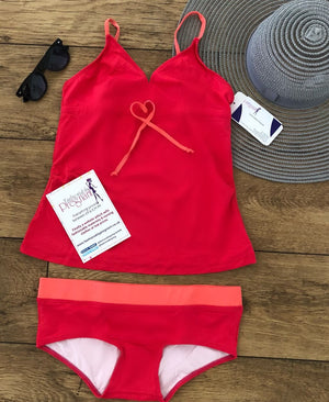Fashionably Pregnant Hot Pink Tankini Swimwear Maternity Set