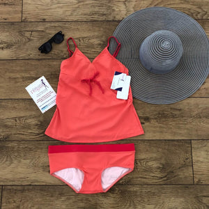 Fashionably pregnant coral tankini set swimwear maternity