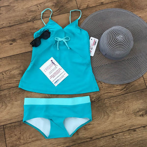 Fashionably Pregnant Blue Tankini Swimwear Maternity Set