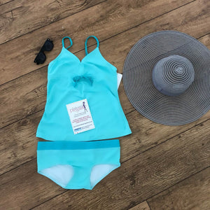 Fashionably Pregnant Light Blue Tankini Swimwear Maternity Set