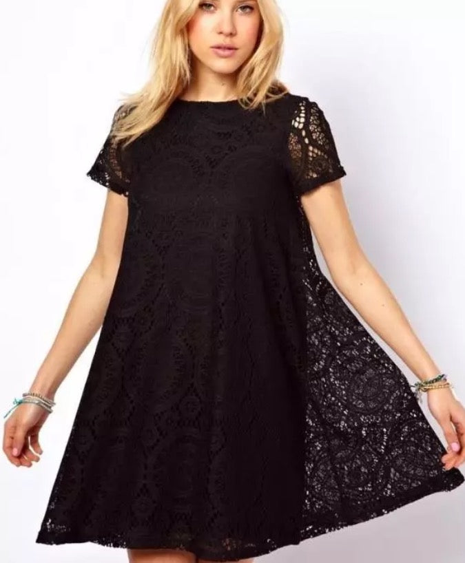 Short Sleeve Maternity Lace Top - Black