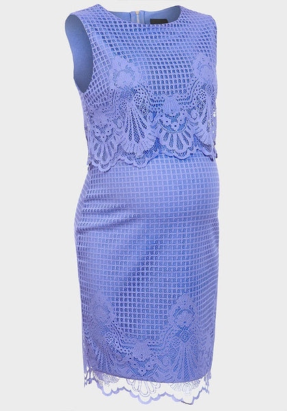 Iris Lace Round Neck Maternity Dress - Blue