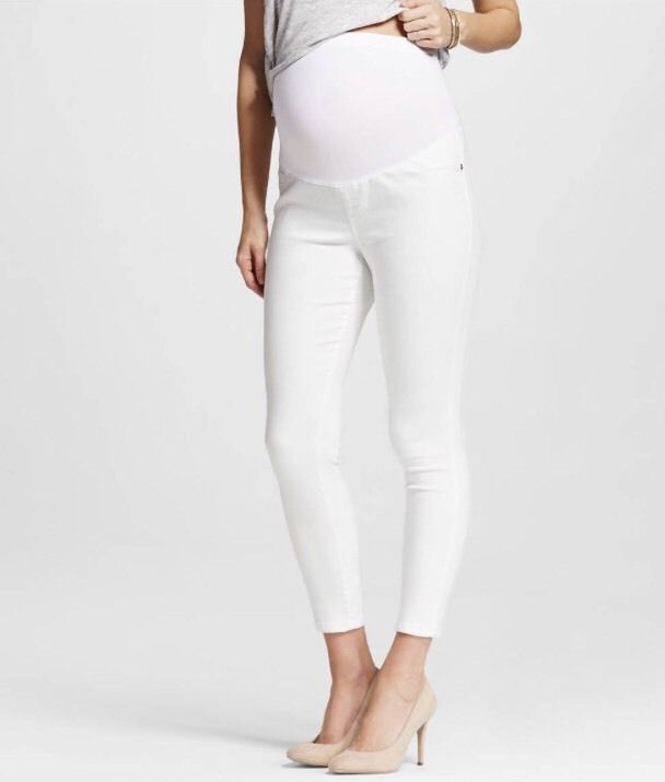 White Over the Bump Jeans