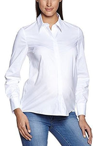 Lucina Maternity White Shirt long sleeve button classic collar fitted cotton