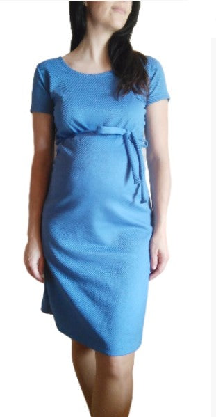 Lucina Maternity Dress with Belt Available in 3 Colour Options Yellow/Blue/Green