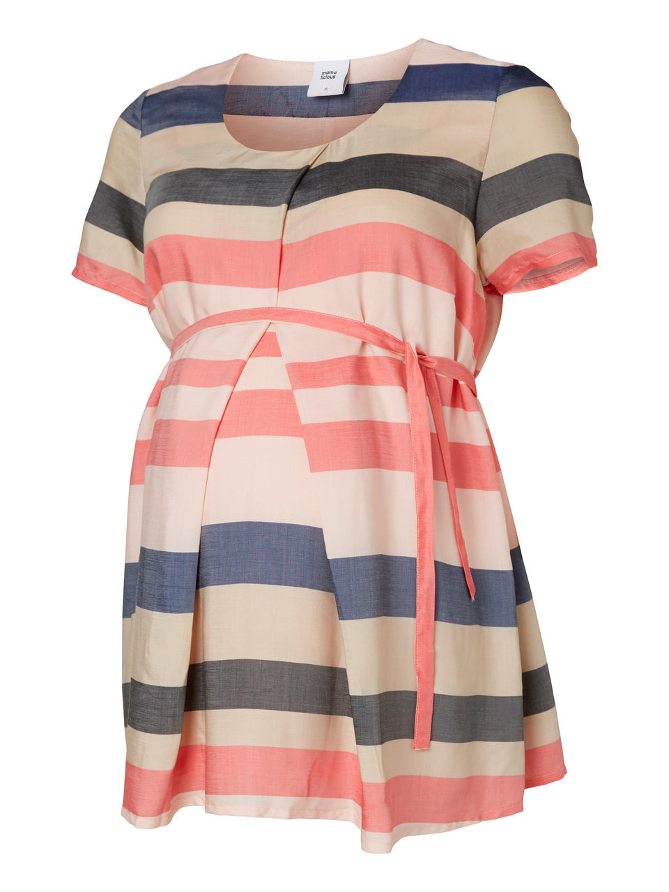 Mamalicious Peach Navy Stripe Maternity Top