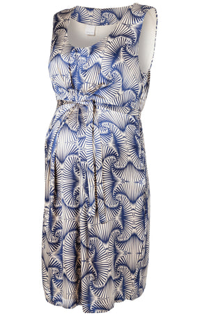 Fashionably Pregnant Mamalicious Sleeveless Printed Navy Maternity Dress