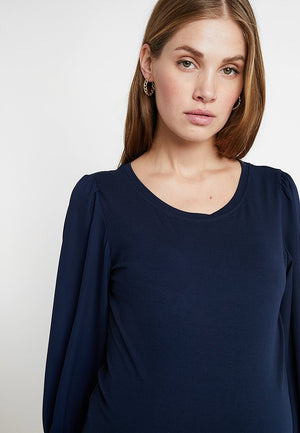 Fashionably pregnant maternity top tshirt blouse mamalicious navy blue log sleeve smart uk free delivery