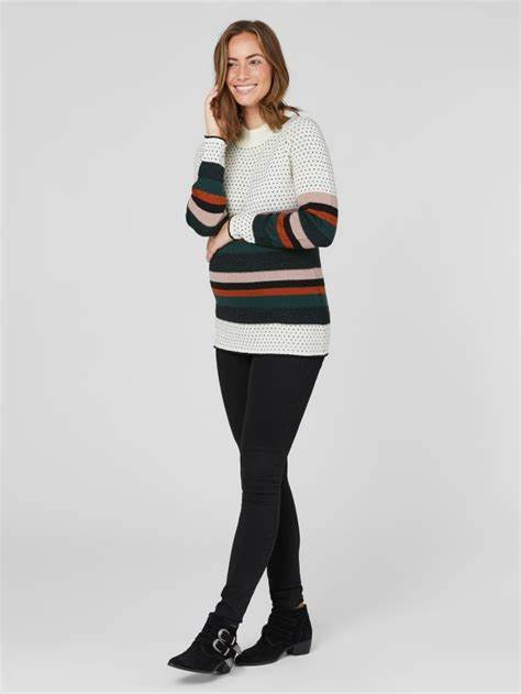 Fashionably pregnant maternity and nursing online boutique pregnancy and breastfeeding clothing specialists. Mamalicious white stripe spots dots winter warm jumper pullover sweater, belt long sleeves maternity casual lockdown smart uk free delivery
