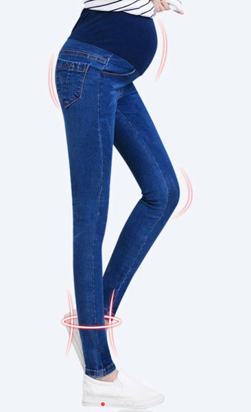 Over the Bump Maternity Slim Fit Denim Jeans - Dark Blue