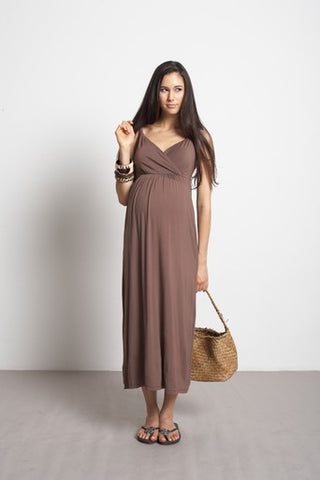 Mothers En Vogue Athena Brown Maxi Dress