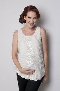 Ripe Maternity Harlow Beaded Ivory Top