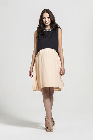 Fashionably Pregnant Rock a Bye Rosie Riley Apricot & Black Embellished Neckline Maternity Dress