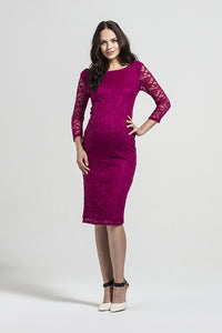 Fashionably Pregnant Rock a Bye Rosie Sienna Berry Lace Maternity Dress