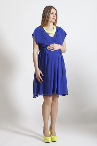 Rock a Bye Rosie Annabella Blue Chiffon Pleat Maternity Dress