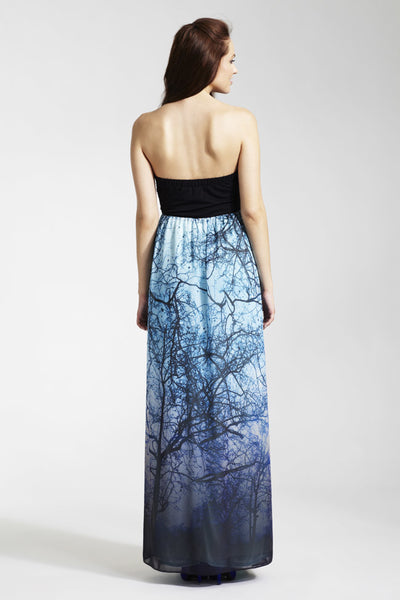 Rock a Bye Rosie Blue Printed Alice Maxi Maternity Dress