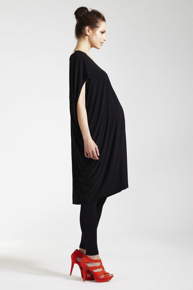 Rock_a_Bye_Rosie Charlie Beaded Back Trim Cocoon Draped Maternity Dress