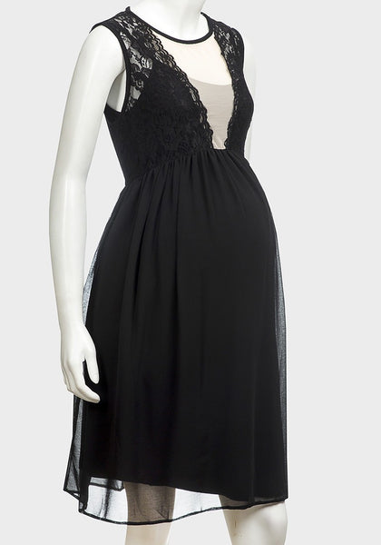 Rock a Bye Rosie Crystal Black Lace Smock Maternity Dress