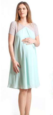 Fashionably Pregnant Rock a Bye Rosie Demi Mint Grey Colour Block Chiffon Swing Maternity Dress Green