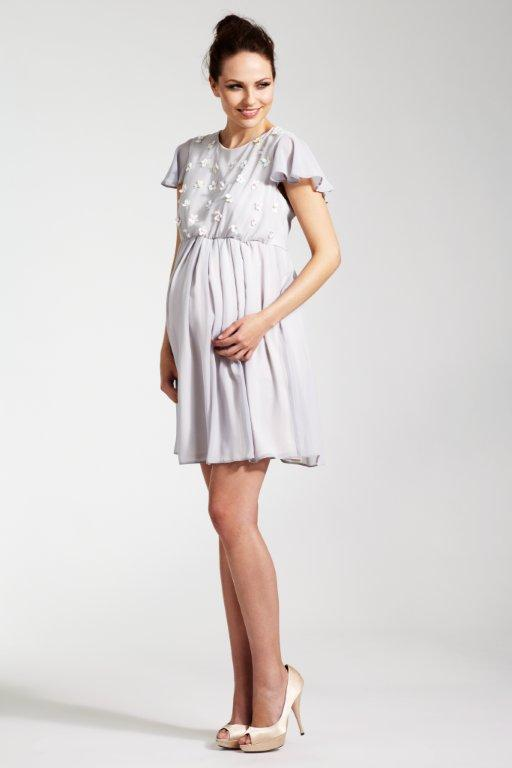 Rock a Bye Rosie Grey Chiffon and Sequin Daisy Maternity Dress