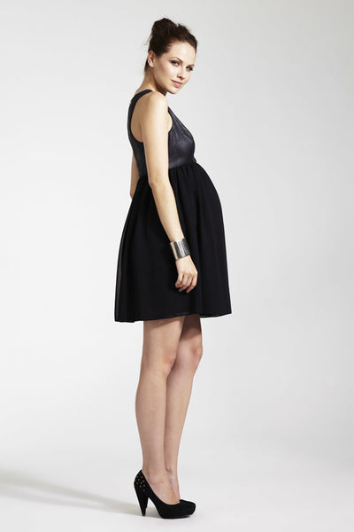 Rock a Bye Rosie Joanna Black PU Bodice & Chiffon Skirt Maternity Dress