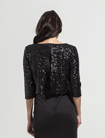 Fashionably Pregnant Rock a Bye Rosie Kendra Black Sequin Maternity Dress