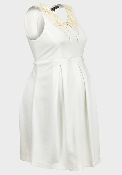 Rock-a-Bye Rosie Kitty Cream Laser Cut Maternity Dress