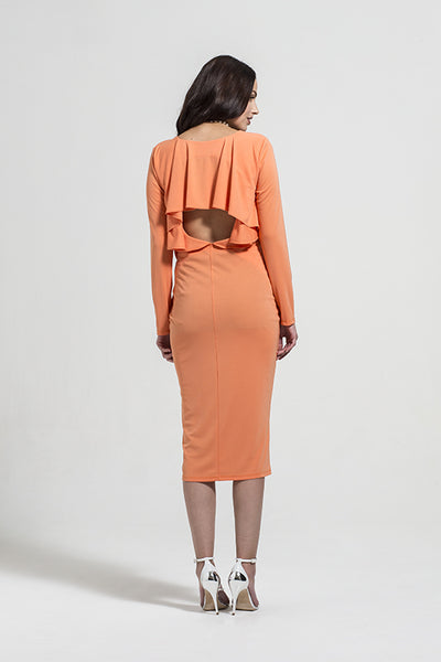 Fashionably Pregnant Rock a Bye Rosie Kylie Orange Draped Cape Maternity Dress