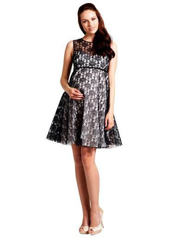 Rock-a-Bye Rosie Lizzie Black & White Lace Maternity Dress
