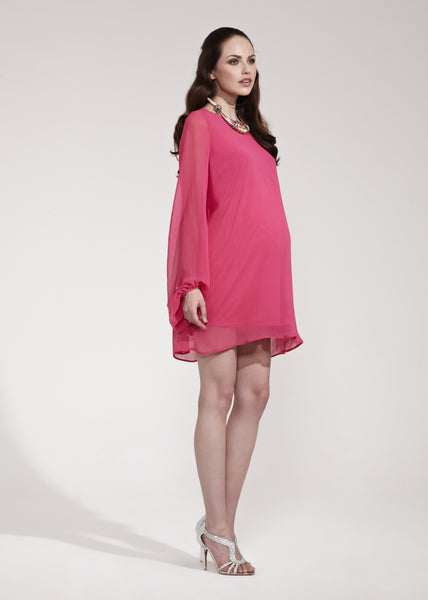 Rock-a-Bye Rosie Lolly Pop Pink Shift Dress with Bell Sleeves