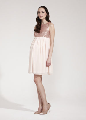 Fashionably Pregnant Rock a Bye Rosie Pink Chiffon & Sequin Lara Maternity Dress