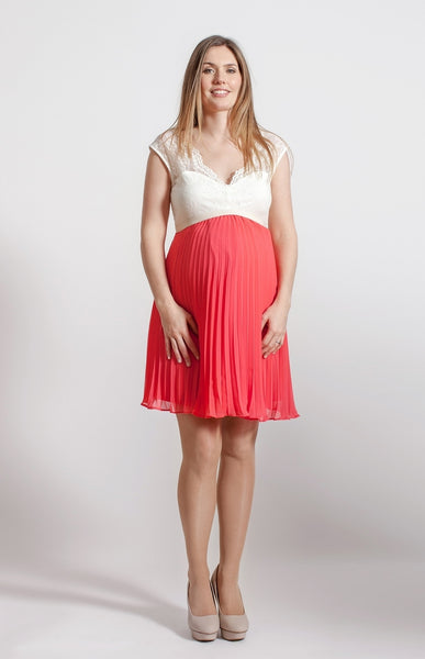 Fashionably Pregnant Rock a Bye Rosie Ciara Coral Cream Lace Pleated Skirt Maternity Dress