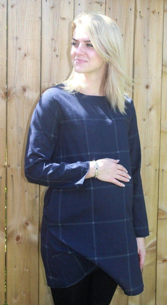 Unity Dark Blue Checked Cotton Top 2