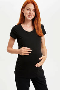 Slim Fit Black Maternity T-Shirt