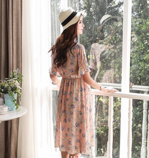 Flute Sleeve Maternity Tea Dress