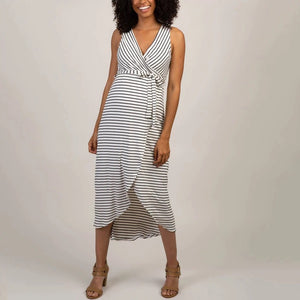 Sleeveless White Stripe Maternity Wrap Dress