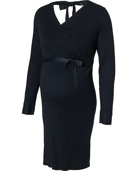 Fashionably pregnant maternity and nursing online boutique pregnancy and breastfeeding clothing specialists. Mamalicious navy blue winter knit warm jumper dress, belt long sleeves maternity casual lockdown smart uk free delivery breastfeeding