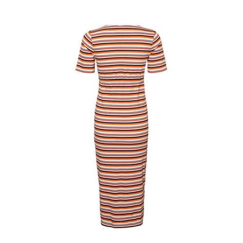 Fashionably pregnant maternity and nursing online boutique pregnancy and breastfeeding clothing specialists. Mamalicious orange stripe midi long dress summer spring sleeves maternity dress, belt long casual lockdown smart summer holiday uk free delivery breastfeeding