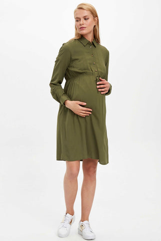 Maternity & Nursing Relaxed Khaki Shirt Dress
